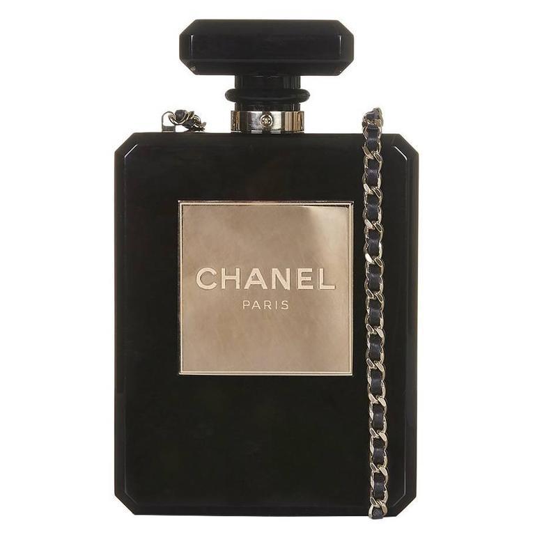 Chanel Black No5 Bottle Minaudière For Sale