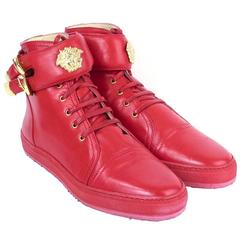 Lifetime Versace Red Leather High Top Sneakers