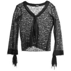 Chanel Black Lace Long Sleeve Blouse sz M