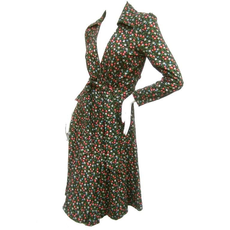 24021fe9ac798 Diane von Furstenberg Iconic Floral Print Italian Wrap Dress c 1970s For  Sale