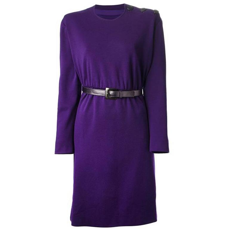 Couture Saint Laurent Purple Wool Dress