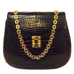 1980s Lana of London Bordeaux Alligator Chain Shoulder Bag W Squeeze Lock