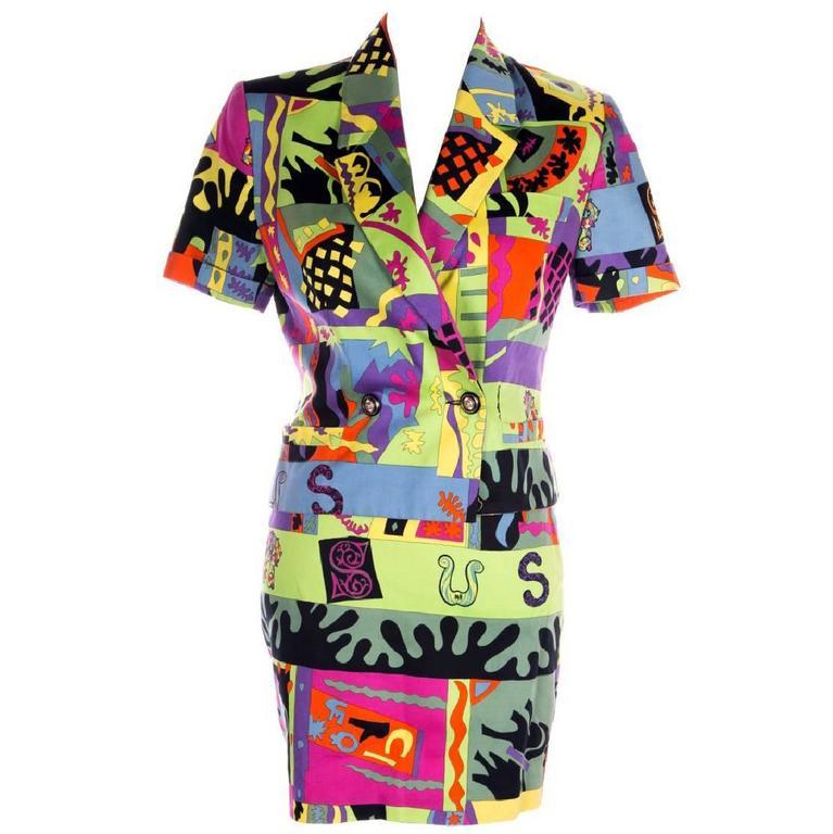 Versus Gianni Versace Neon Fluoro Print Skirt Suit 1