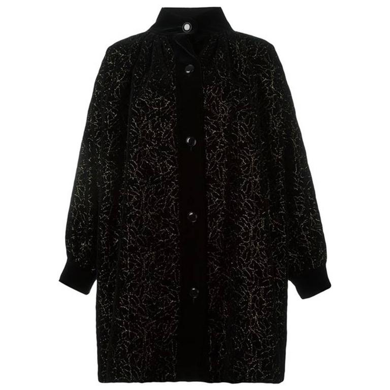 Iconic Saint Laurent Black Velvet Embroidered Coat For Sale