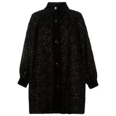 Iconic Saint Laurent Black Velvet Embroidered Coat