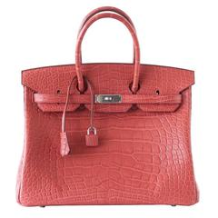 HERMES BIRKIN 35 Bag Rare ROSE INDIENNE Matte Alligator Palladium Hardware