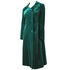 50s Green Silk Velvet Coat