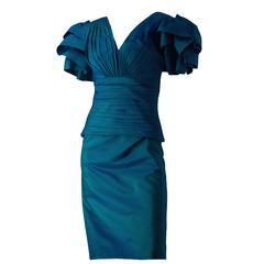 80s Blue Green Iridescent Dress