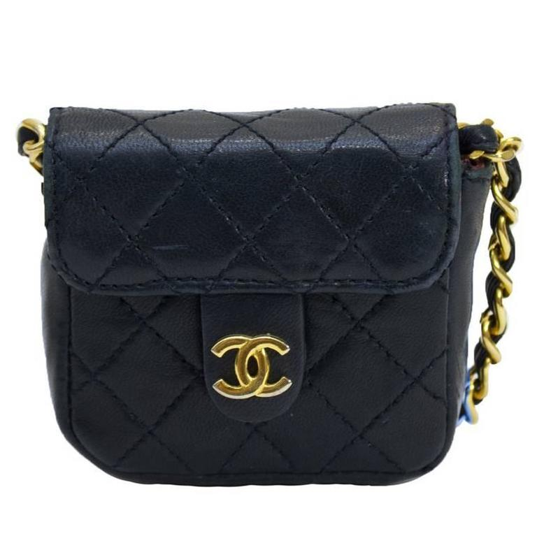 1980's Chanel Navy Mini Quilted Bag For Sale