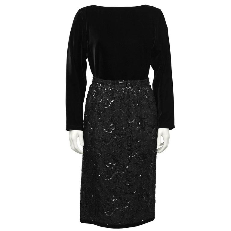 1980's Yves Saint Laurent Black Velvet Top & Lace Skirt Ensemble