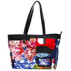 Prada Black Printed Nylon Tote Bag
