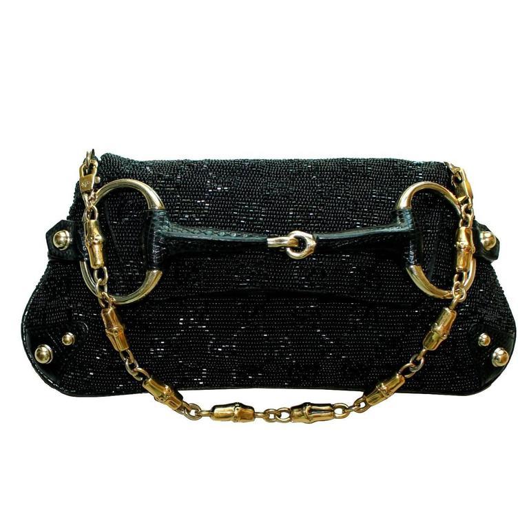 Rare Gucci GG Monogram Beaded Crystal & Lizard Bamboo Chain Horsebit Bag Clutch