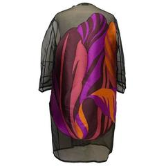Akris Silk-Blend Black Floral Print Coat