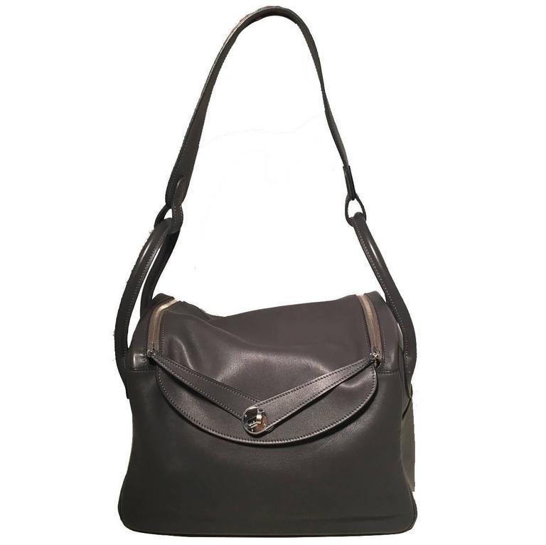 Hermes Grey Swift Leather Lindy Bag