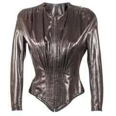 Tom Ford for Gucci Fall 2003 Brown leather corset jacket