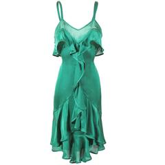 Tom Ford for Yves Saint Laurent Fall 2003 Emerald Silk Ruffle Dress Demi Moore