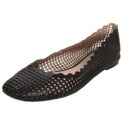 Chloe Black Leather Lauren Perforated Scalloped Ballet Flats sz 40