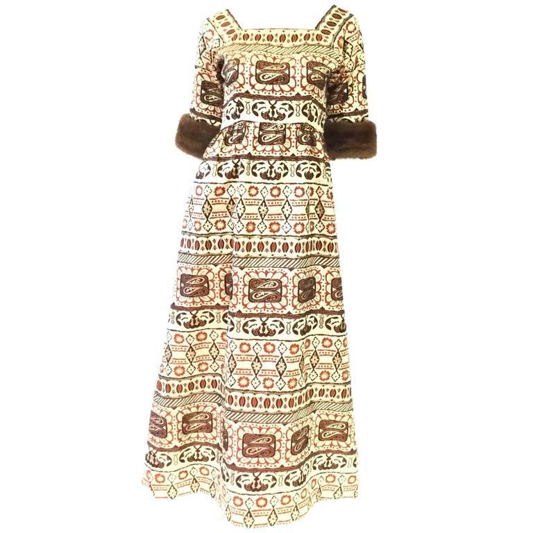 Oscar de la Renta Gold Brocade Evening Dress with Mink Cuff, 1970s  For Sale