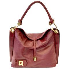 1970s Roberta di Camerino for Lederer Oxblood Leather Fishhook Hardware Handbag