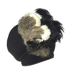 1960s Jack McConnell Sculptural Guinea Fowl Feather Hat