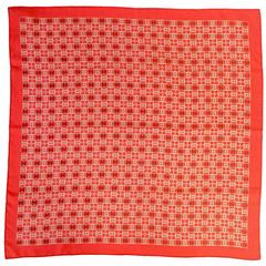 Contemporary Hermès Red Loose Ring Silk Scarf NWT