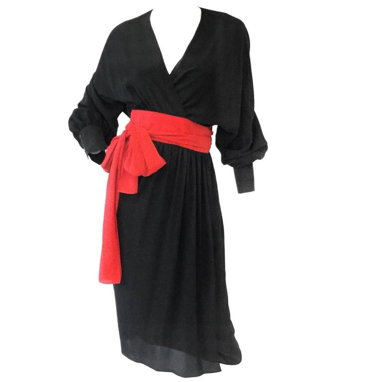 1970s Adele Simpson Black and Red Wrap Dress  For Sale