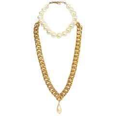 Chanel Large Pearl & Chain Link Necklace
