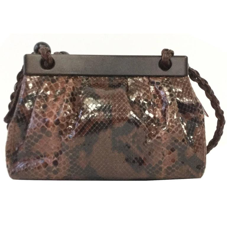Suarez New York Vintage Italian Cinnamon Brown Python Shoulder Bag