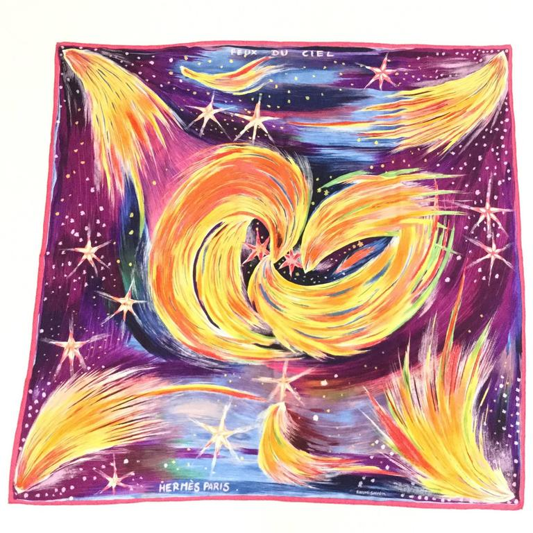 2000 Hermes Heavenly Fires Silk Scarf by Sefedin Alamin