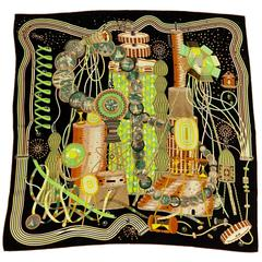 2012 Hermes Silk Scarf The Laboratory of Time by Pierre Marie