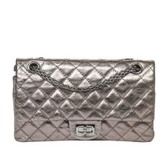 Chanel - Reissue Double Flap Metallic Silver Leather