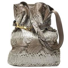 2000s Chloe Taupe Python Joan Bucket Bag