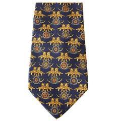 SALVATORE FERRAGAMO Tie Blue w/ Seated Tigers Rare