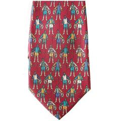 SALVATORE FERRAGAMO Tie red  w/ Riding Jockey Rare