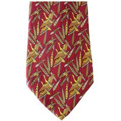 SALVATORE FERRAGAMO Tie Red w/ Geese in Flight Rare