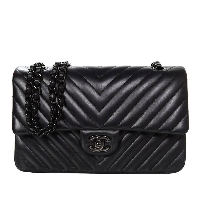 "Chanel RARE Chevron SO Black 10"" Double Flap Classic Bag ..."