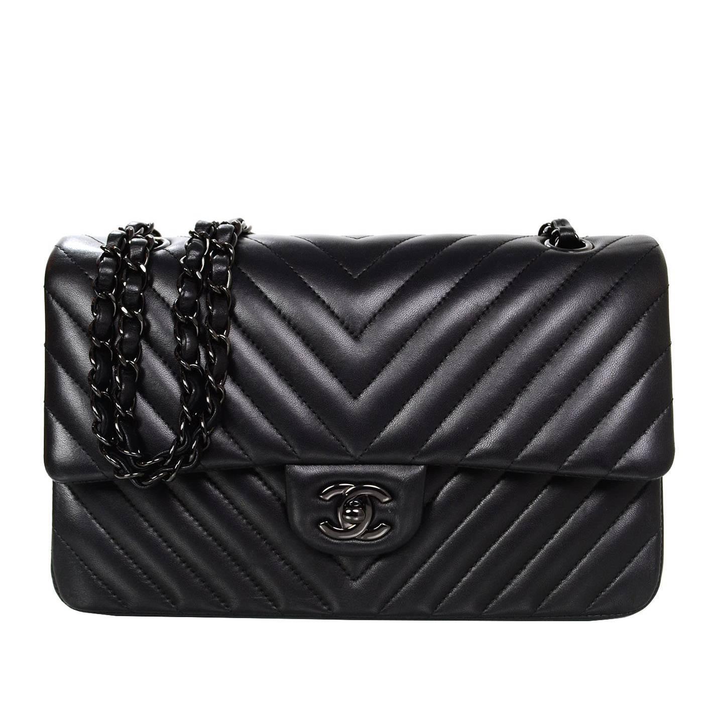 4195d2f7d5 Chanel Rare Chevron So Black 10 Double Flap Classic Bag At 1stdibs