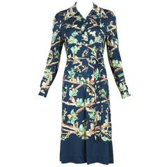 1970's Hermes Jersey Shirt Dress w/Green & Navy Love Bird Print