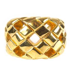 Chanel Rare Bracelet Cut Out Quilted Vintage Cuff - Gold Wide Bangle CC Woven 23