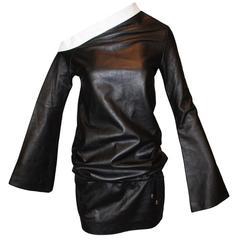 S/S 2000 Alexander McQueen Runway Black Leather Off Shoulder Mini Dress