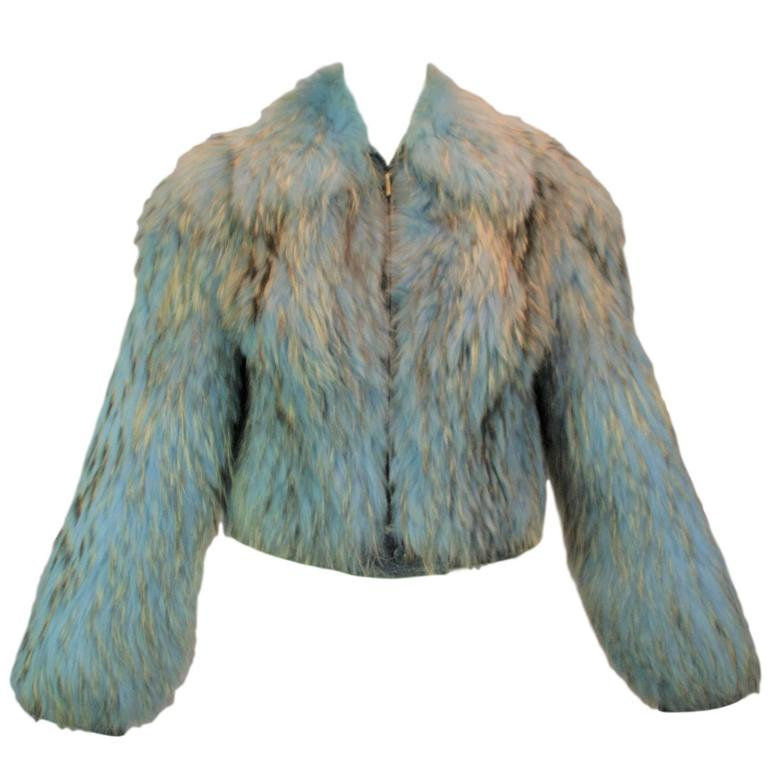 F/W 2001 Gianni Versace Cropped Blue Fur Coat Jacket on Kim Kardashian