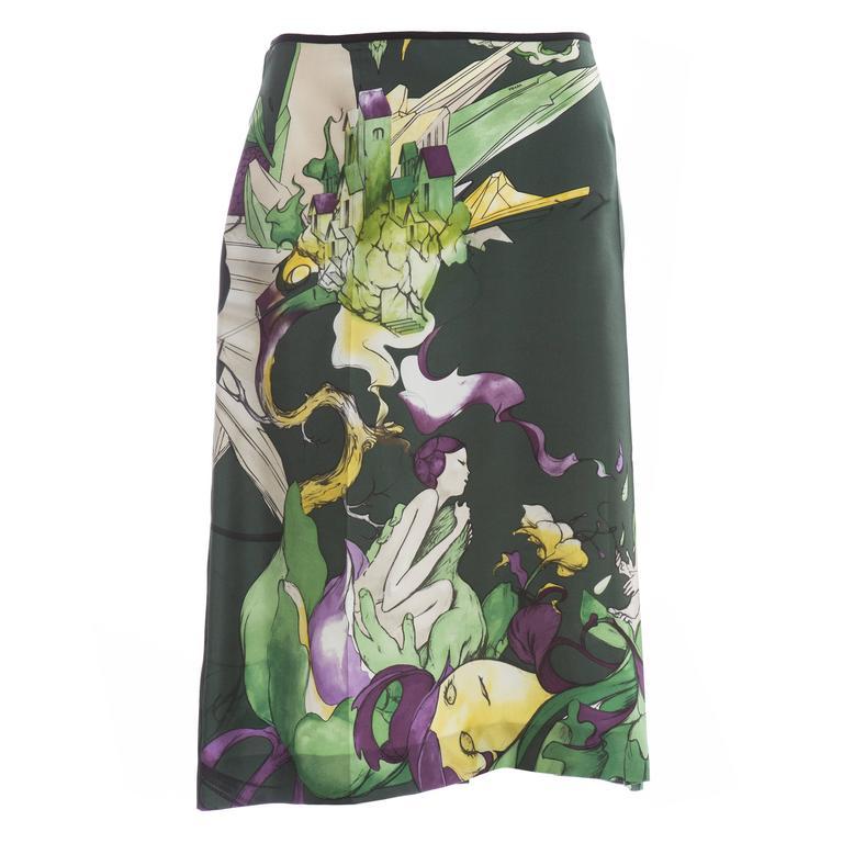 Prada Silk Skirt With James Jean Fairy Print, Spring - Summer 2008