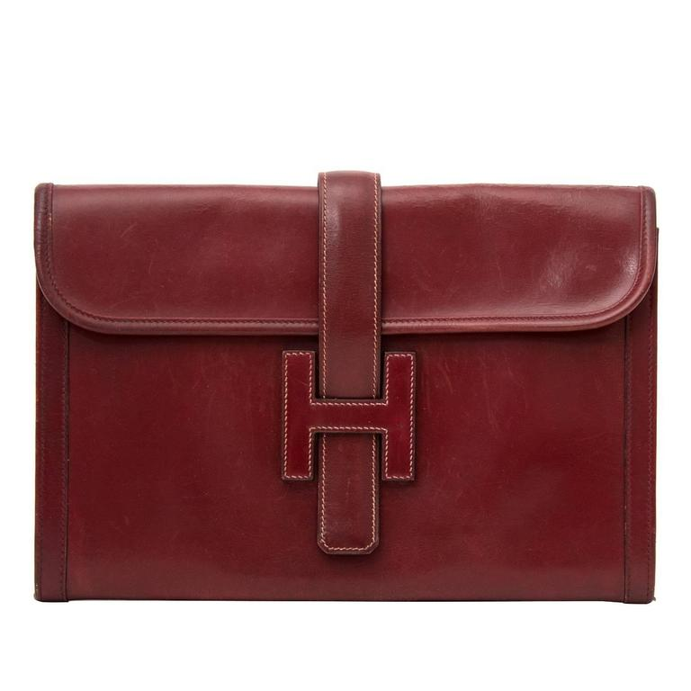 Hermes Bordeaux Jige Clutch For Sale
