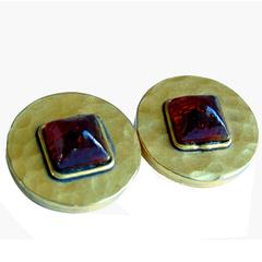 Chanel Earrings Red Gripoix and Hammered Gold Metal 1970s Clip Vintage