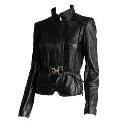 Free Shipping: Rare Tom Ford Gucci FW 2004 Black Leather Runway Moto Jacket! 42