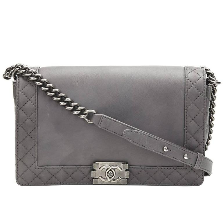 659304f700ed 2010s Chanel Grey Calfskin Medium Le Boy Reverso at 1stdibs