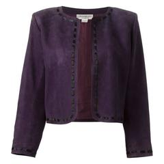 Rare Saint Laurent Purple Lamb Suede Bolero Jacket