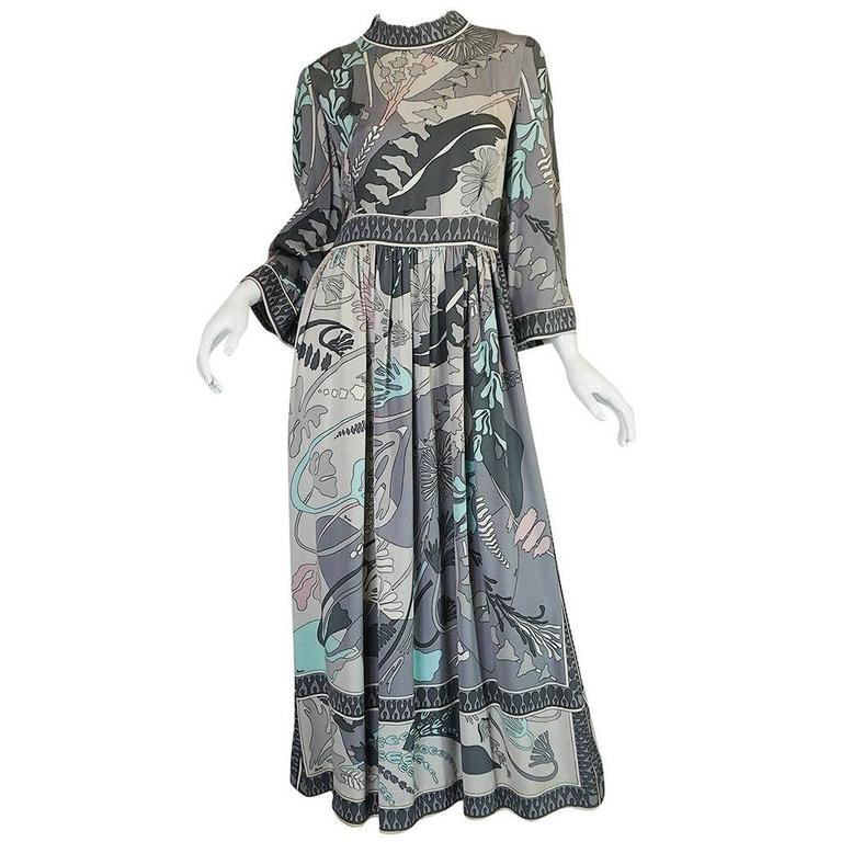 1960s Grey & Pastel Printed Bessi Silk Jersey Dress