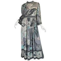 1960s Grey & Pastel Printed Bessi Silk Jersey Dress