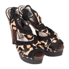 CHRISTIAN DIOR Leopard Ponyhair Wooden Heel PLATFORM SANDALS 35.5